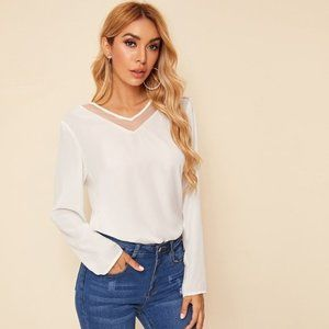 SHEIN White Mesh Insert Solid Top Size XS